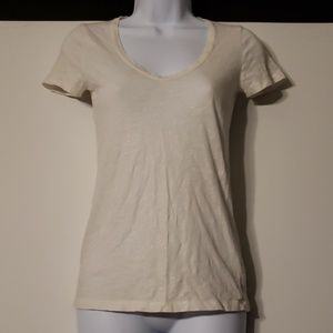 J Crew White Sparkle Vintage Cotton Tee XXS